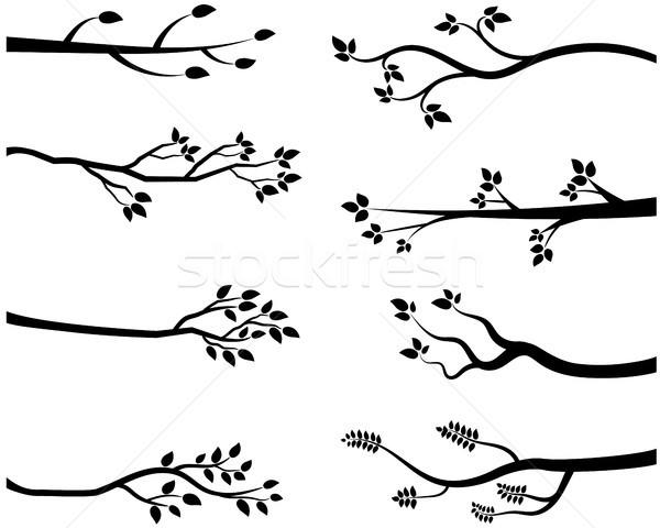 Stockfoto: Zwarte · silhouetten · bos · achtergrond · zomer