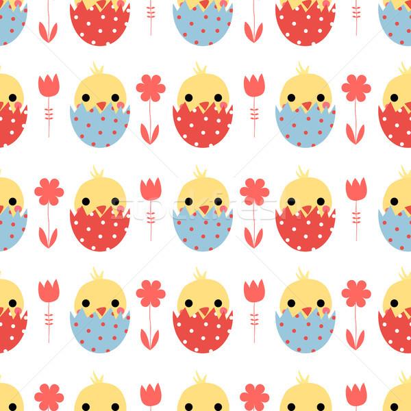 Сток-фото: вектора · Пасху · Cute · яйца · синий
