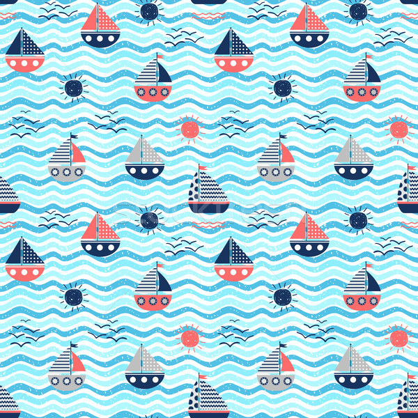Nautical vector seamless pattern with red and blue boats Stock photo © Pravokrugulnik
