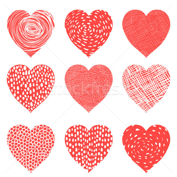 Cute vector hearts in red and white colors for Valentine's day Stock photo © Pravokrugulnik