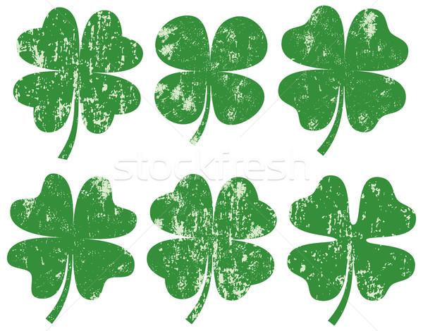 Green vector four leaf clover silhouette s with texture  Stock photo © Pravokrugulnik