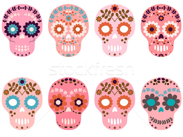 Vector pink sugar skulls with flowers and floral elements Stock photo © Pravokrugulnik
