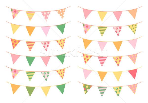Háromszög zászlók friss nyár színek buli Stock fotó © Pravokrugulnik