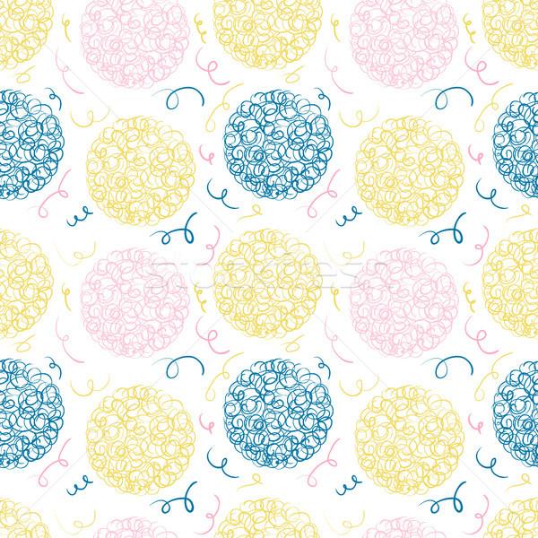 Fun vector seamless pattern with doodle circles and strokes Stock photo © Pravokrugulnik
