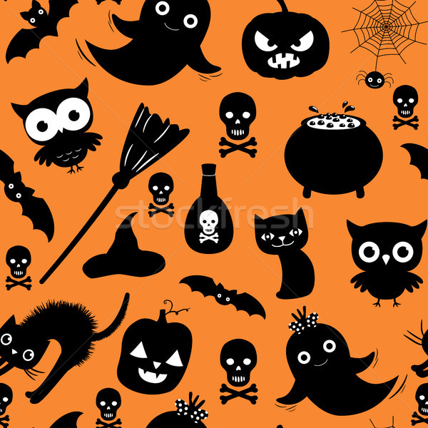 Cute Halloween vector seamless pattern with ghosts, cats and pumpkins on orange background color for Stock photo © Pravokrugulnik