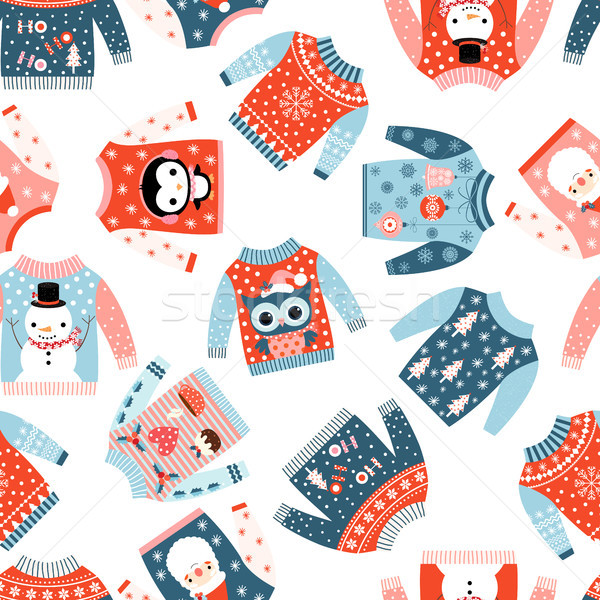 Cute Christmas vector seamless pattern with ugly cute sweaters Stock photo © Pravokrugulnik