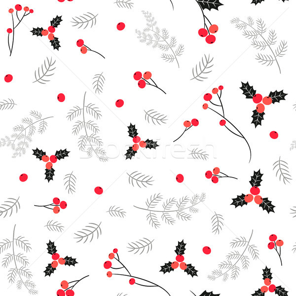Elegant black, red and gray vector seamless pattern with berries Stock photo © Pravokrugulnik