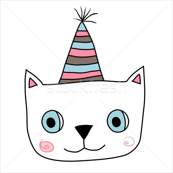 Sevimli kedi yüz eğlence çizgili şapka Stok fotoğraf © Pravokrugulnik