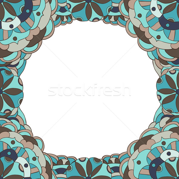 Beautiful vector floral background frame design in mandala style in blue and brown colors for invita Stock photo © Pravokrugulnik