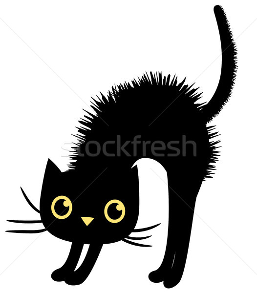 Black vector cat in flat style for Halloween designs Stock photo © Pravokrugulnik