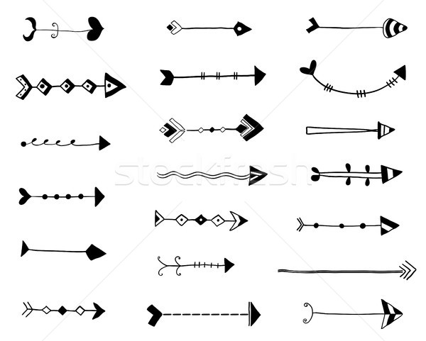 Stock photo: Black vector hand drawn arrows, doodle style icons
