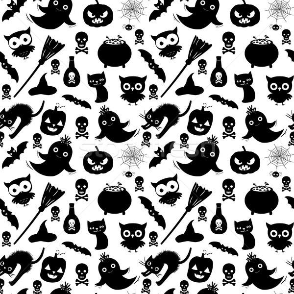 Feketefehér vektor végtelen minta halloween állatok terv Stock fotó © Pravokrugulnik