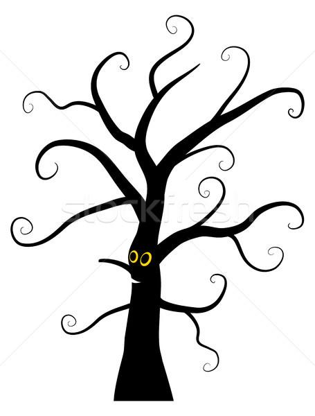 Vector black Halloween spooky tree character  Stock photo © Pravokrugulnik