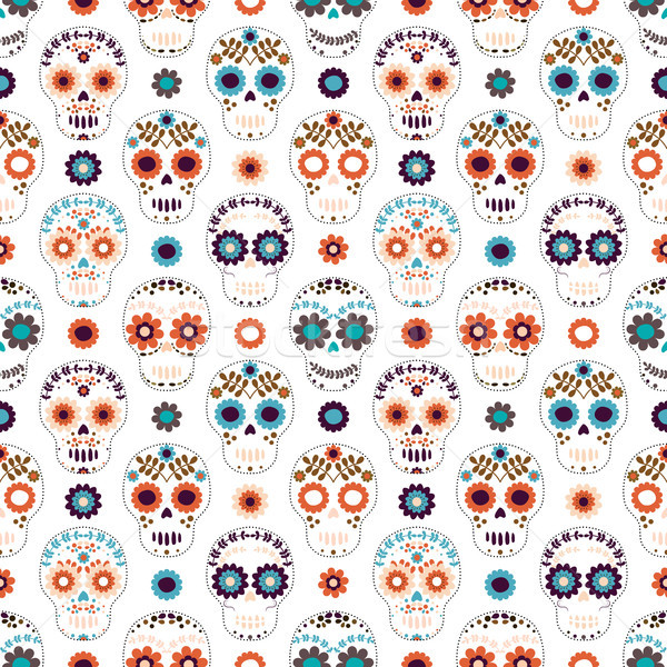 Stock photo: Vector seamless pattern with white sugar skulls and flowers for clothing designs
