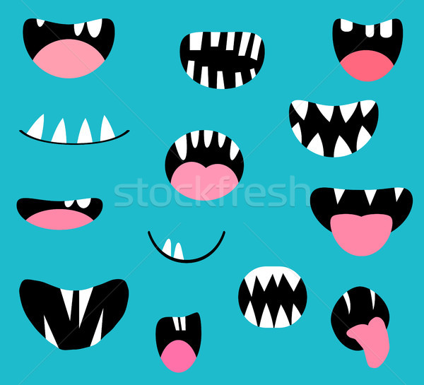 Vector monster mouths, open and closed with tongues and teeth Stock photo © Pravokrugulnik