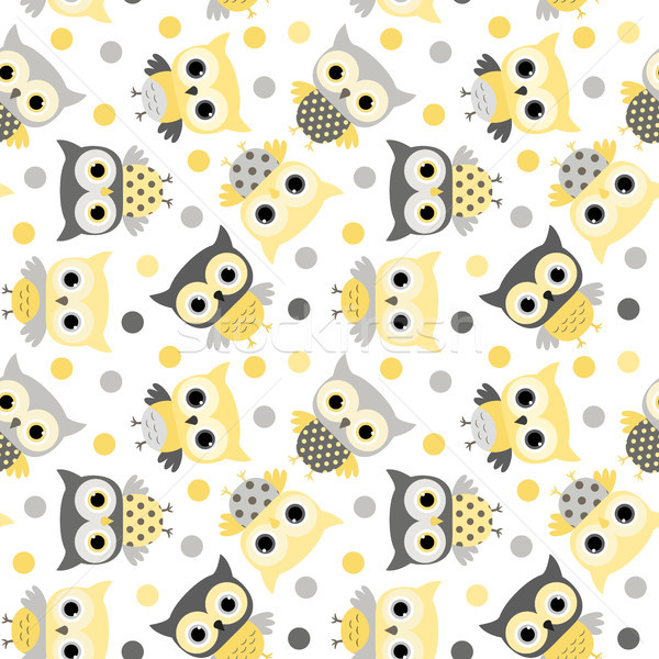 Cute animal seamless pattern with cartoon owls in yellow and grey Stock photo © Pravokrugulnik