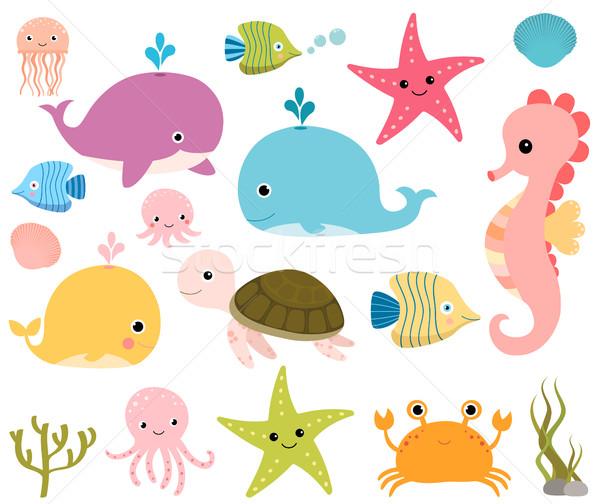 Cute sea animals for scrapbooking, baby showers and summer Stock photo © Pravokrugulnik