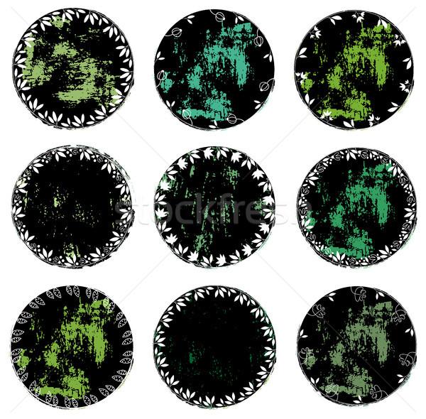 Round distressed vector floral labels or tags  Stock photo © Pravokrugulnik