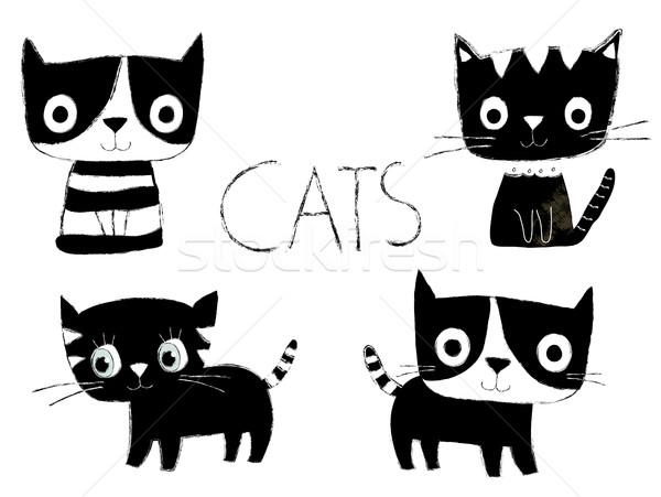 Ayarlamak sevimli siyah beyaz vektör kediler stil Stok fotoğraf © Pravokrugulnik