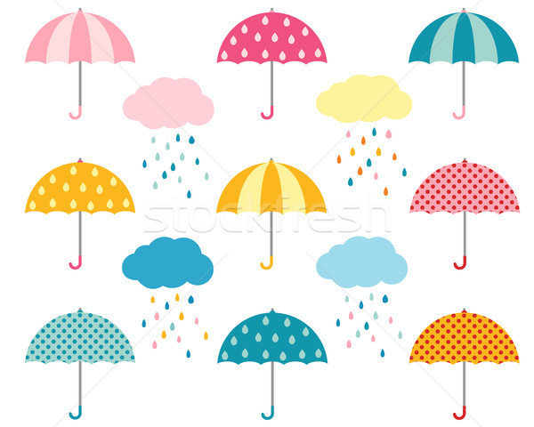 Cute umbrella collection and clouds with raindrops Stock photo © Pravokrugulnik