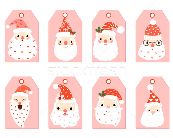 Cut vector gift tags with hipster Santa faces Stock photo © Pravokrugulnik