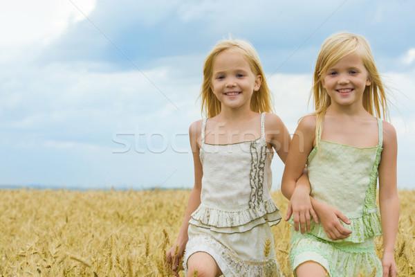 Сток-фото: ходьбе · вместе · портрет · Cute · близнецы · вниз