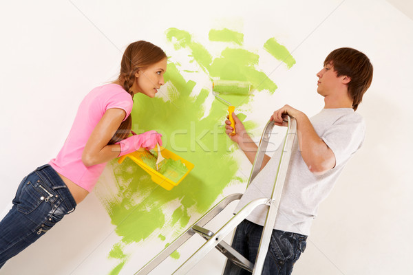 Painting wall Stock photo © pressmaster