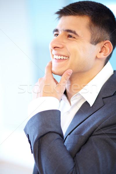 Knap zakenman portret vrolijk aanraken kin Stockfoto © pressmaster