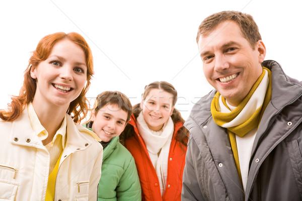 ストックフォト: カップル · 肖像 · 幸せ · 見える · カメラ · 子供