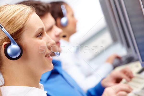 Stok fotoğraf: Telefon · konuşma · grup · müşteri · temsilci · çalışma