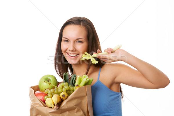 Stockfoto: Gezonde · voeding · portret · mooie · meisje · papier