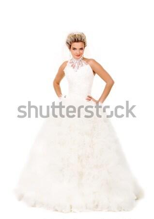 Сток-фото: очаровательный · невеста · портрет · красивой · улыбаясь · позируют