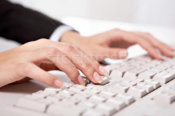 Stock fotó: Gépel · közelkép · női · kéz · megérint · gombok