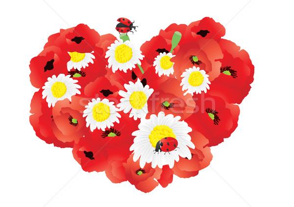 Stock fotó: Fényes · pipacsok · virág · szív · terv · művészet
