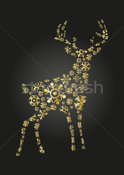 Dourado rena preto projeto neve fundo Foto stock © pressmaster