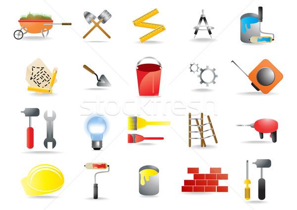 Stockfoto: Vector · iconen · bouw · gebouw · tools · kunst