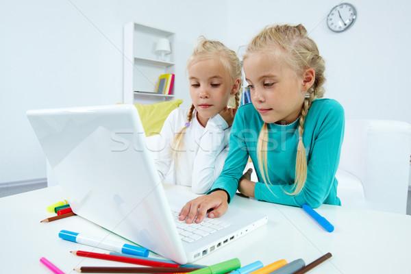 Portable portrait jumeau filles étudier Photo stock © pressmaster
