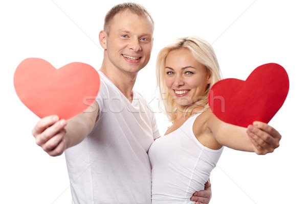 Portrait heureux couple rouge papier Photo stock © pressmaster