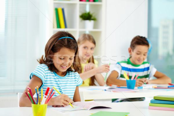 девушки рисунок портрет месте студент карандашом Сток-фото © pressmaster