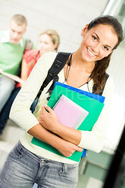 Foto stock: Alegre · estudante · retrato · bonitinho · menina