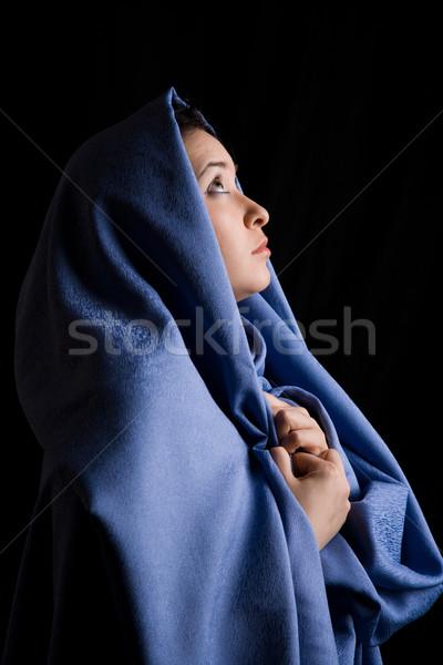 Foto d'archivio: Aspettativa · ritratto · religiosa · donna · guardando · speranza