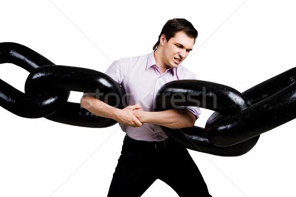 Retrato tenso empresario dos enorme cadena Foto stock © pressmaster