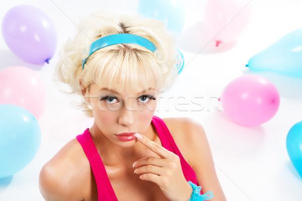 Yüz kız portre güzel bir kadın parmak ağız Stok fotoğraf © pressmaster
