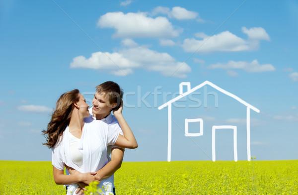 единения изображение счастливым пару желтый луговой Сток-фото © pressmaster