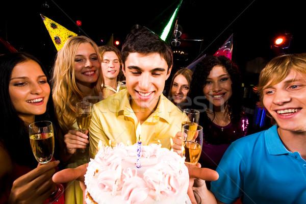 Stockfoto: Vent · cake · portret · smart · verjaardagstaart · vrienden