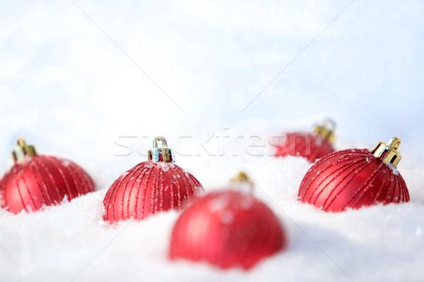 Toy balls in snow Stock photo © pressmaster