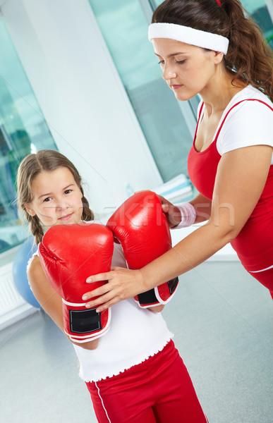 Női boxeralsó portré csinos megérint lánygyermek Stock fotó © pressmaster