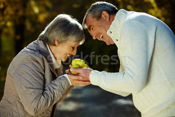 Foto stock: Olor · manzanas · foto · mujer · marido