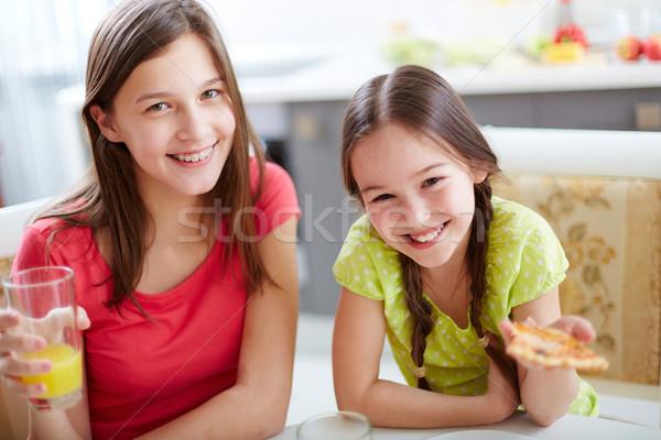 Twee zusters portret cute meisjes vergadering Stockfoto © pressmaster