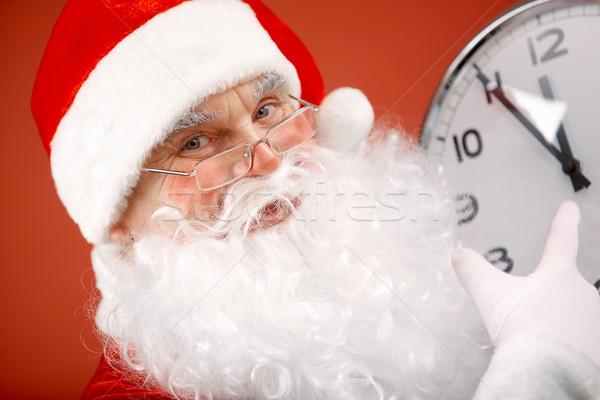 Zdjęcia stock: Gotowy · Fotografia · Święty · mikołaj · wskazując · zegar